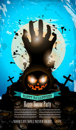 october 31: Halloween Party Flyer with creepy colorful elements with a black portion of background for your text.