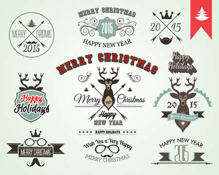 2015 Christmas decoration set of calligraphic and typographic design elements included tree, animal, ribbons and so on Vector