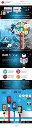 all in one: One page website flat UI design template. It include a lot of flat stlyle icons, forms, header, footeer, menu, banner and spaces for pictures and icons all in one page.