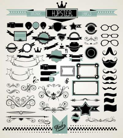 Mega Set of Vintage Labels for your Hipster designs.Labels, ribbons, mustache, frames, glasses, dividers and so on Vector