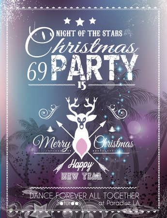 Christmas Party Flyer for Club and Disco events. Ideal for musical themed posters, invitation covers and new years Eve discotheque nights! Vector