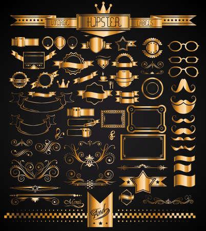 Mega Set of Vintage Golden Labels for your Hipster designs.Labels, ribbons, mustache, frames, glasses, dividers and so on Vector