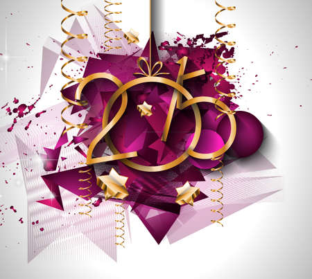 new year: 2015 New Year and Happy Christmas background for your flyers. Includes a lot of festive themed elements: balls, stars, golden words and shapes.