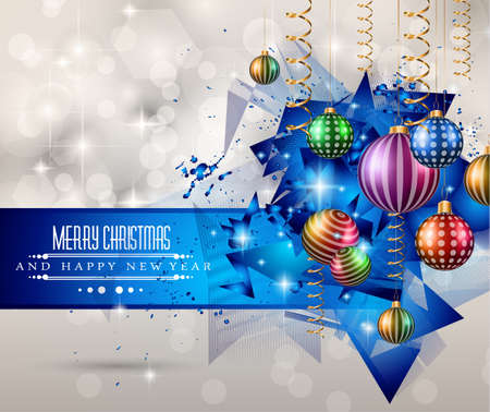 Merry Christmas Greeting Card for happy Holidays and new year flyers. Illustration