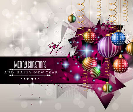 2015 New Year and Happy Christmas background for your flyers. Includes a lot of festive themed elements: balls, stars, golden words and shapes. Vector
