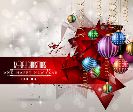 Merry Christmas Greeting Card for happy Holidays and new year flyers. Vector