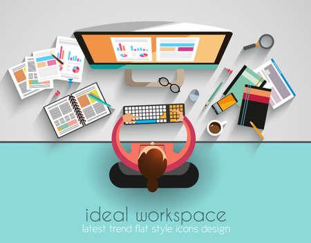 planos: Espacio de trabajo ideal para el trabajo en equipo y con estilo brainsotrming plana. Una gran cantidad de elementos de dise�o se incluyen: computadoras, dispositivos m�viles, equipos de escritorio, l�piz, taza de caf�, sheeets, documentos, etc. Vectores