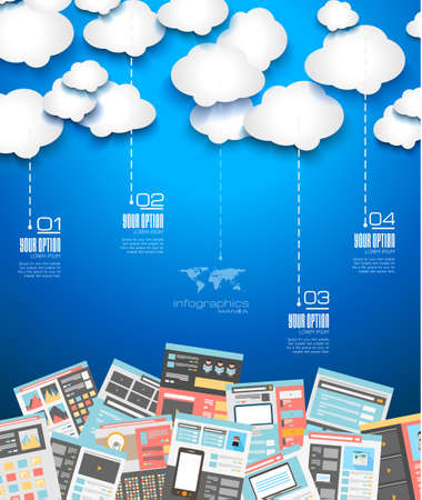 devices: Ideal Cloud technology background with Flat style. A lot of design elements are included: computers, mobile devices, desk supplies, pencil,coffee mug, sheeets,documents and so on Illustration