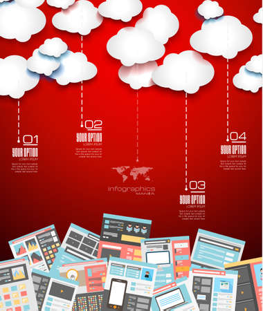 s horn: Ideal Cloud technology background with Flat style. A lot of design elements are included: computers, mobile devices, desk supplies, pencil,coffee mug, sheeets,documents and so on Illustration