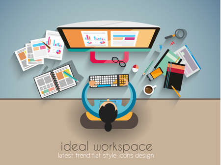 Ideal Workspace for teamwork and brainsotrming with Flat style. A lot of design elements are included: computers, mobile devices, desk supplies, pencil,coffee mug, sheeets,documents and so on Vector