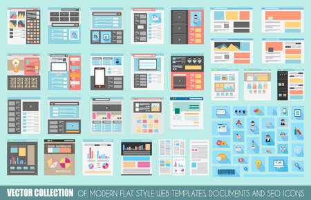 Mega Collection of Flat Style Website templates, Sheets, Icons, Social Network layouts, generic blogs, video portals and so on. Ilustração