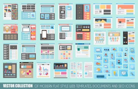 Mega Sammlung von Flat Style Webseite Vorlagen, Bettwäsche, Icons, Social Network-Layouts, generische Blogs, Videoportale und so weiter. Vektorgrafik