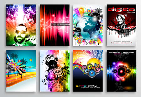 disk jockey: Set of Club Flyer design, PArty poster templates, music event backgrounds, rock and pop wallpapers and disk jockey night promotions.