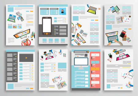 Set van Flyer Design, Web Templates. Brochure ontwerpen, technologie achtergronden. Mobile Technologies, Infographic ans statistiek Concepts and Applications covers.
