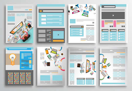 flat background layouts: Set of Flyer Design, Web Templates. Brochure Designs, Technology Backgrounds. Mobile Technologies, Infographic  ans statistic Concepts and Applications covers. Illustration