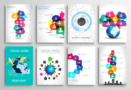 Set of Flyer Design, Web Templates. Brochure Designs, Technology Backgrounds. Mobile Technologies, Infographic  ans statistic Concepts and Applications covers. Vector