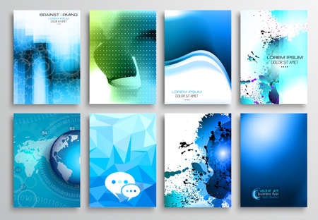 brochure: Set of Flyer Design, Web Templates. Brochure Designs, Technology Backgrounds. Mobile Technologies, Infographic  ans statistic Concepts and Applications covers. Illustration