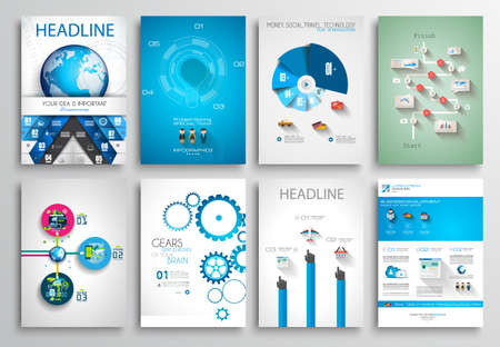 チラシ デザイン、Web テンプレートのセットです。3 折パンフレットのデザイン、テクノロジーの背景。モバイル技術インフォ グラフィック ans 統計