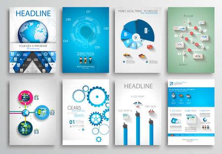 plantilla: Conjunto de tarjetas informativas, plantillas Web. Diseños Folleto, Fondos Tecnología. Tecnologías Móviles, Conceptos estadísticos Infografía ans y Aplicaciones cubiertas.