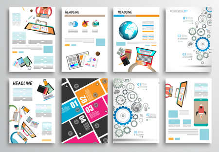 チラシ デザイン、Web テンプレートのセットです。3 折パンフレットのデザイン、テクノロジーの背景。モバイル技術インフォ グラフィック ans 統計の概念とアプリケーションについて説明します。 写真素材 - 34094938