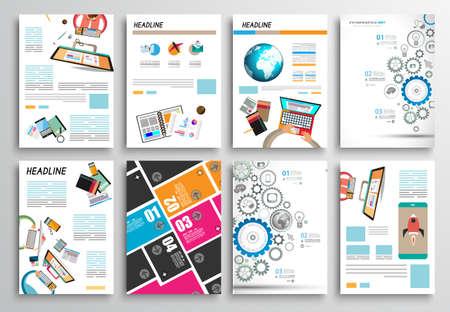 the brochure: Conjunto de tarjetas informativas, plantillas Web. Dise�os Folleto, Fondos Tecnolog�a. Tecnolog�as M�viles, Conceptos estad�sticos Infograf�a ans y Aplicaciones cubiertas.
