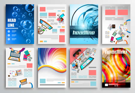 brochure cover: Set of Flyer Design, Web Templates. Brochure Designs, Technology Backgrounds. Mobile Technologies, Infographic  ans statistic Concepts and Applications covers. Illustration