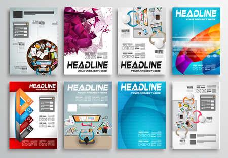 Ensemble de prospectus en couleur, modèles Web. Designs Brochure, Fond technologiques. Mobile Technologies, Concepts statistiques de foot Des applications couvertures.