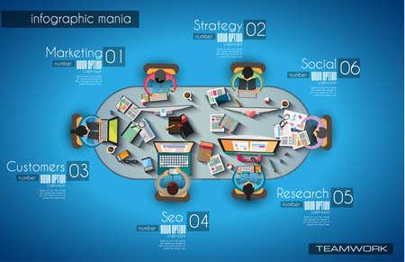 Trabalho em equipe e Infográfico brainsotrming com estilo Flat. Um monte de elementos de design estão incluídos: computadores, dispositivos móveis, material de mesa, lápis, caneca de café, sheeets, documentos e assim por diante