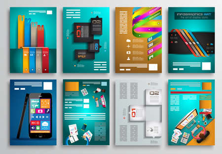 digital book: Set of Flyer Design, Web Templates. Brochure Designs, Technology Backgrounds. Mobile Technologies, Infographic  ans statistic Concepts and Applications covers. Illustration