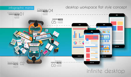rank: Infographic template with flat UI icons for ttem ranking.  Illustration