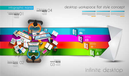 Infographic template with flat UI icons for ttem ranking. Ideal to use for marketing studies display, features ranking, strategy illustrations, seo optimization and social media. Vector