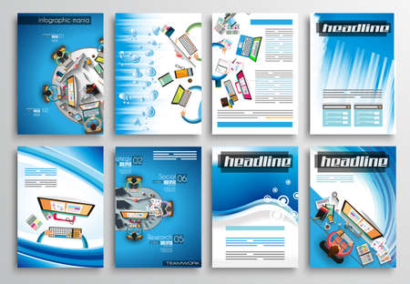 template: Set of Flyer Design, Web Templates. Brochure Designs, Technology Backgrounds. Mobile Technologies, Infographic  ans statistic Concepts and Applications covers. Illustration