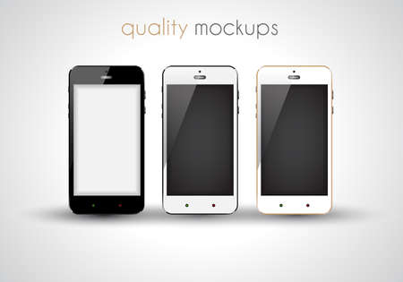 iphon: Mobile smartphone realistic collection set of elegant modern style mockups with blank screen isolated and ready to use for games previews, web elements, app presentations and so on.