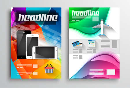 Set of Flyer Design, Web Templates. Brochure Designs, Technology Backgrounds. Mobile Technologies, Infographic  ans statistic Concepts and Applications covers. Illustration