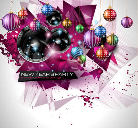 event party festive: New Years Party Flyer design for nigh clubs event with festive Christmas themed elements and space for your text.