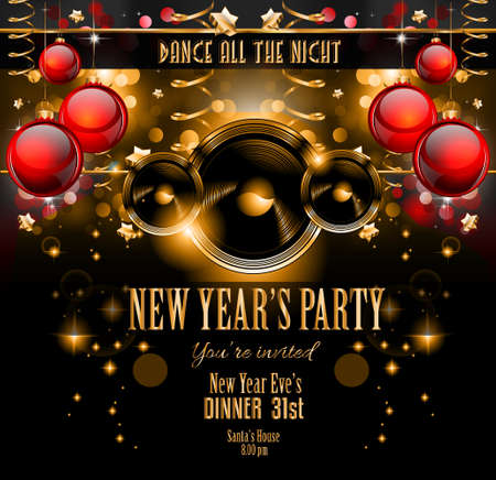 New Years Party Flyer design for nigh clubs event with festive Christmas themed elements and space for your text. Vector