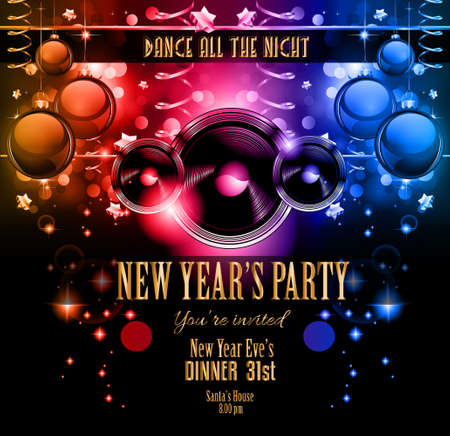 new year poster: New Years Party Flyer design for nigh clubs event with festive Christmas themed elements and space for your text.