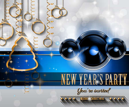 event party festive: 2015 New Years Party Flyer design for nigh clubs event with festive Christmas themed elements and space for your text.