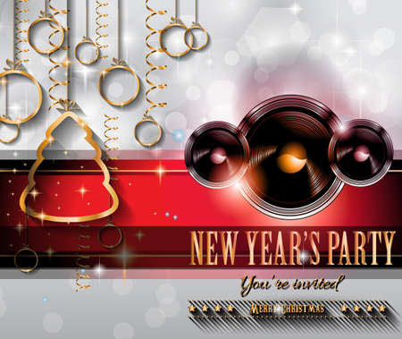 disk jockey: 2015 New Year and Happy Christmas background for your flyers, invitation, party posters, greetings card, brochure cover or generic banners.