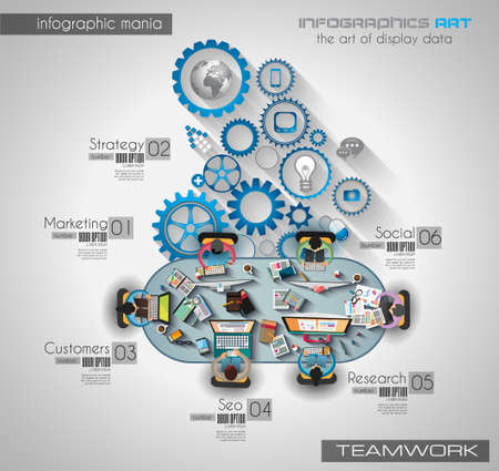 work team: Infographic teamwork and brainsotrming with Flat style. A lot of design elements are included: computers, mobile devices, desk supplies, pencil,coffee mug, sheeets,documents and so on