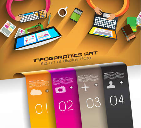 Infographic teamwork and brainstorming with Flat style. A lot of design elements are included: computers, mobile devices, desk supplies, pencil,coffee mug, sheeets,documents and so on Vector