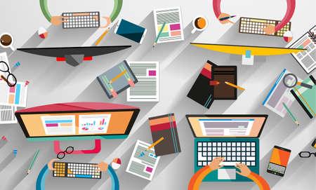 corporativo: El trabajo en equipo y el intercambio de ideas Infografía con estilo Flat. Una gran cantidad de elementos de diseño se incluyen: computadoras, dispositivos móviles, equipos de escritorio, lápiz, taza de café, sheeets, documentos, etc.
