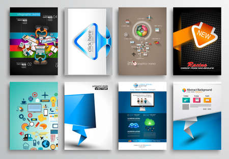 office supply: Set of Flyer Design, Web Templates. Brochure Designs, Technology Backgrounds. Mobile Technologies, Infographic  ans statistic Concepts and Applications covers. Illustration