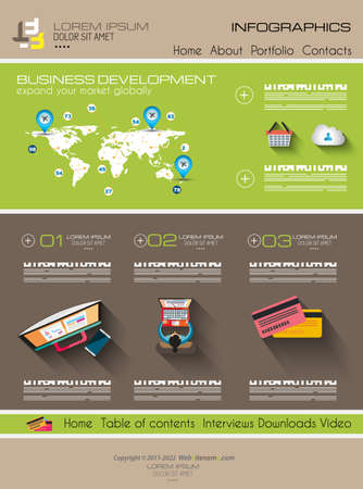 webtemplate: Modern website template with flat style infographics layout for your project.  Illustration