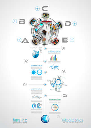 Infographic teamwork and brainstorming with Flat style. Vector