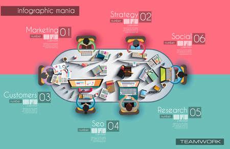 Infographic sjabloon met platte UI pictogrammen