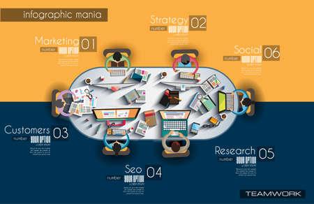 organigrama: El trabajo en equipo y el intercambio de ideas Infografía con estilo Flat. Vectores