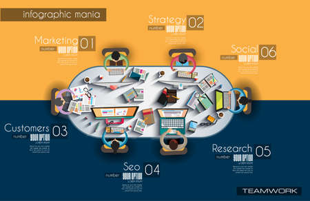 business desk: Infographic teamwork and brainstorming with Flat style.