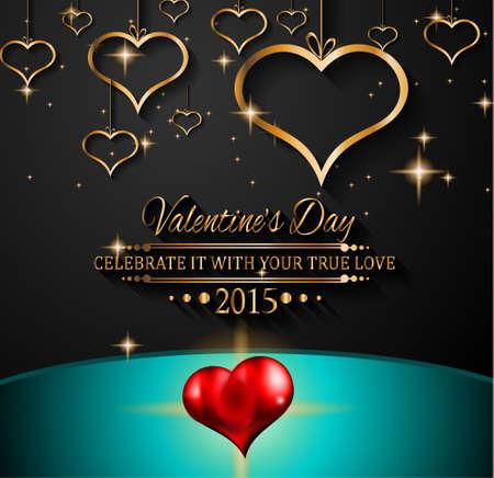 happy valentine s day: Valentines Day background for dinner invitations Illustration