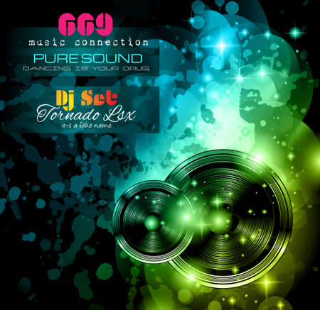disk jockey: Disco Night Club Flyer layout with  music themed elements to use for Event Poster, Club advertisement, Night Contest promotions and Invitations.